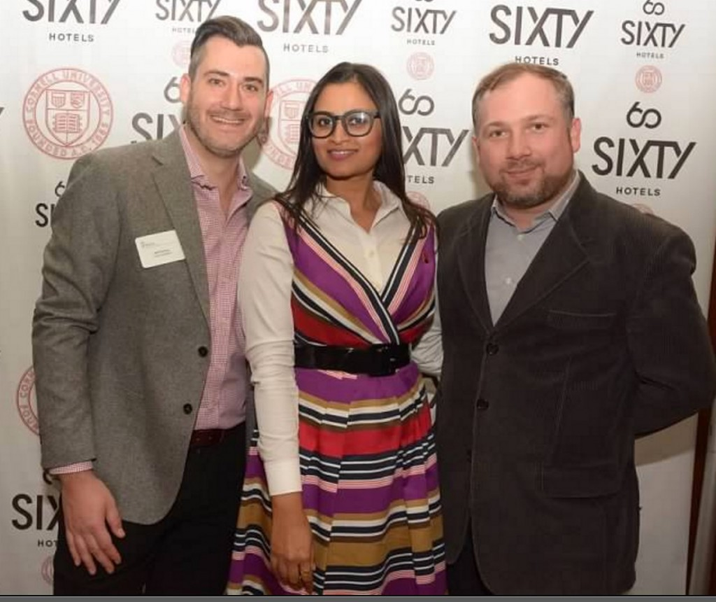 Jeff Gurtman (Coyle Hospitality Group), Nikita Sarkar (The NSN Group), and Richy Patrina (Moët Hennessy USA) enjoy the evening at the CHS NYC Hotel Show Reception Nov. 11, 2015